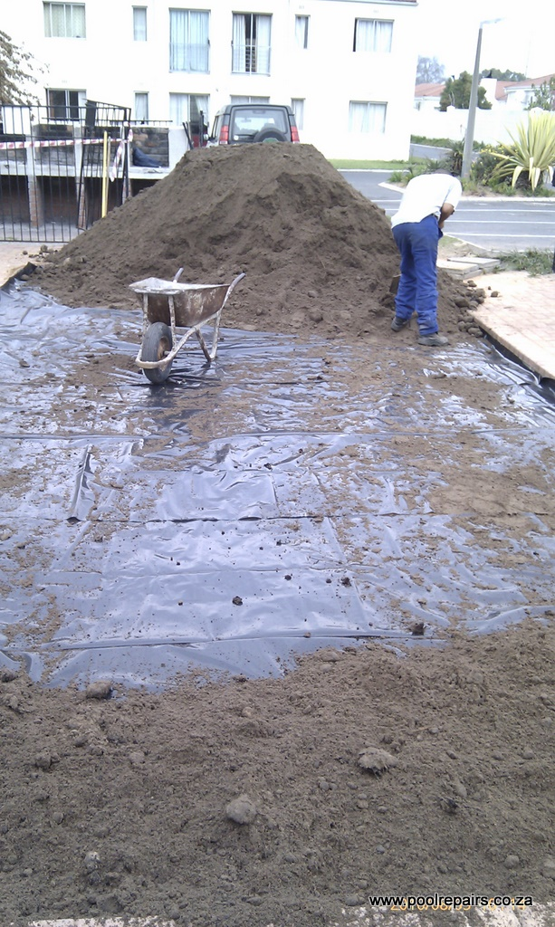 filling an old swimming pool with sand. Black Bedroom Furniture Sets. Home Design Ideas